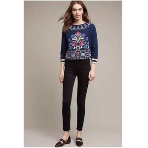 Anthro HWR Monogram Intarsia Floral Knit Sweater